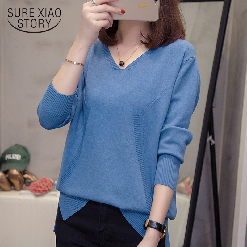 New Fashion Autumn Winter Clothes Casual Solid Women Tops Long Sleeve Women Sweaters  Plus Size Thick V-neck Sweaters 5844 50