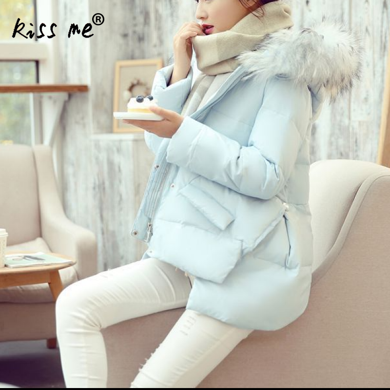 Solid Hooded Women Outdoor Down Jacket Winter Cotton Clothing Zipper Casual Loose Style Thermal Coat Sweet Warm Windproof Coat