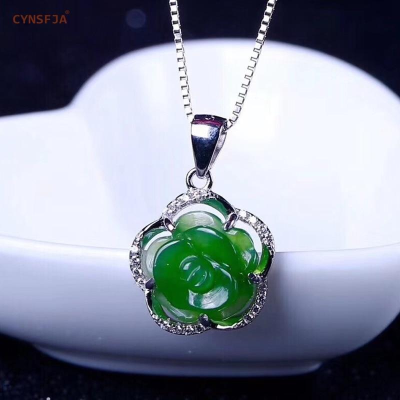 CYNSFJA réel certifié naturel Hetian Jade jaspe 925 en argent Sterling bijoux fins Rose vert Jade pendentif sculpté à la main meilleur cadeau