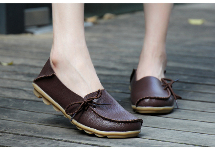 AH 911-2019 Spring Autumn Genuine Leather Women Loafers Walking Mother Flats-3