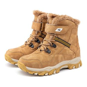 New Snow Boots For Boys Kids Winter Shoes Fashion Boots Plush Warm Big Girls Ankle Boots Leather Waterproof Children Cotton Boot