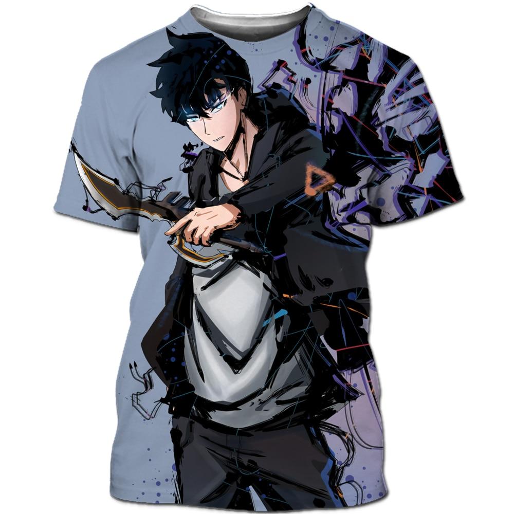 Solo Leveling Shirt men Korean anime 3D printing manga T-shirt Fun neutral streetwear cool T-shirt Harajuku pullover T-shirt top (4)