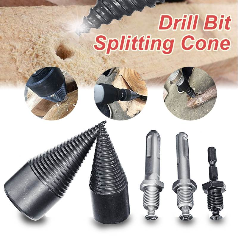 DOERSUPP 32mm/42mm High Speed Firewood Machine Drill Wood Cone Reamer Punch Driver Drill Bit Split Drilling Tools