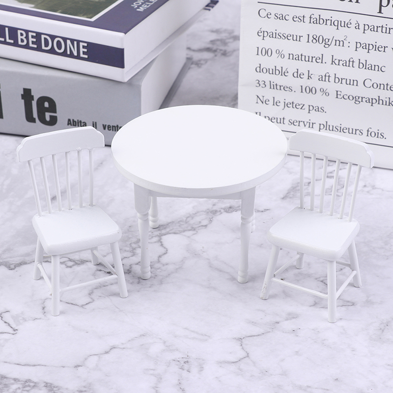 1Set 1//12 Dollhouse Mini Dining Table Chair Doll House Wooden Furniture De G3