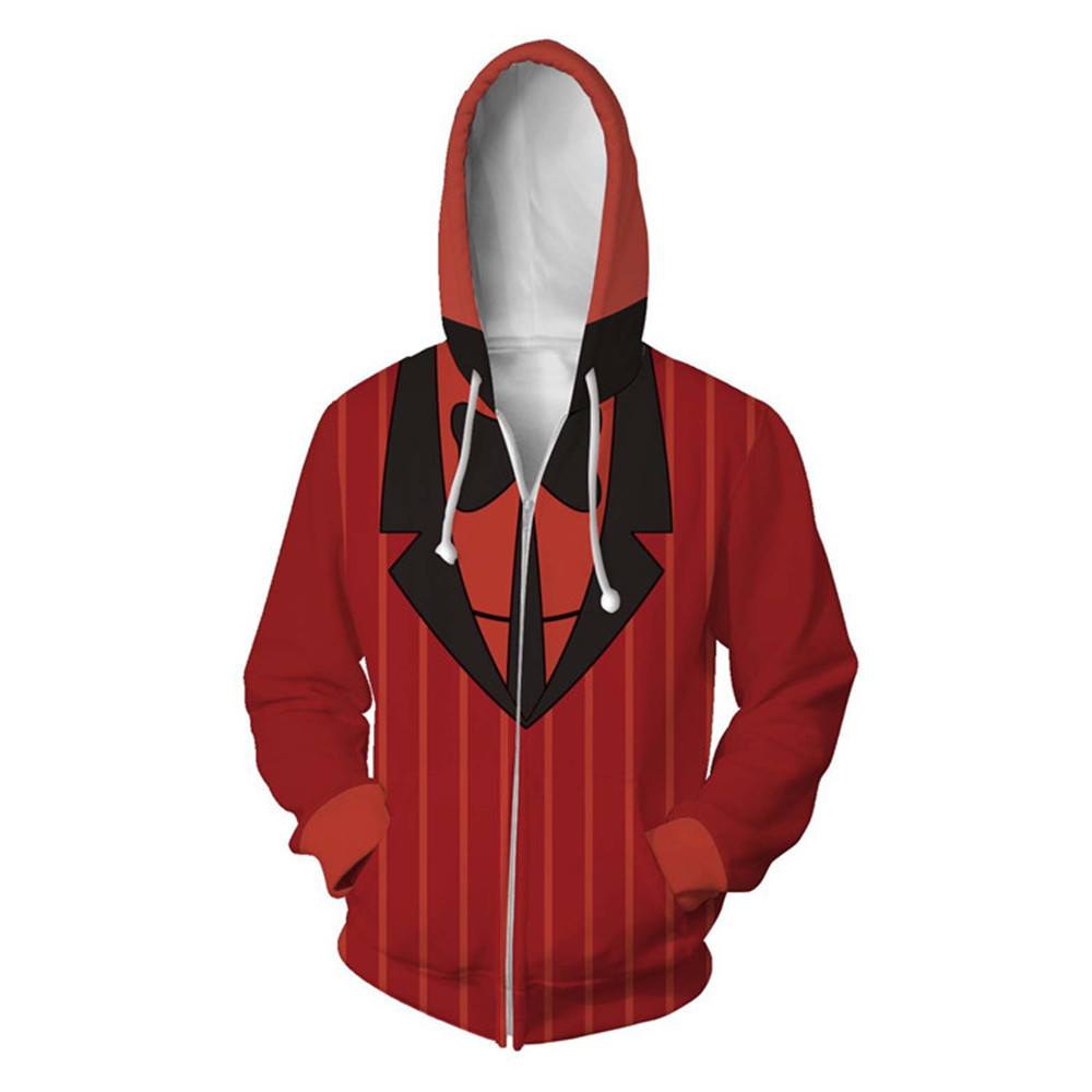 Cosplay Alastor Uniform Cartoon Hazbin Hotel Costume Charlotte Angel Vaggie Zip Hoodie Sweater Sweatshirt Coat For Men Women