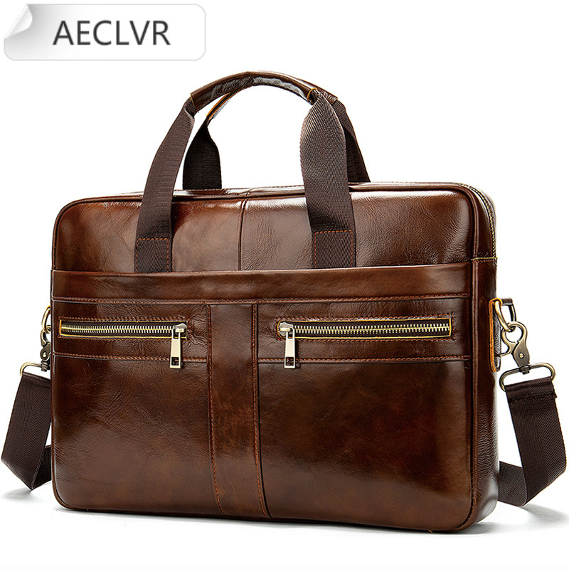 Male Briefcases Men's Genuine Leather Briefcase Male Man Laptop Bag Natural Leather for Men Messenger Bags Men's Briefcases 2020