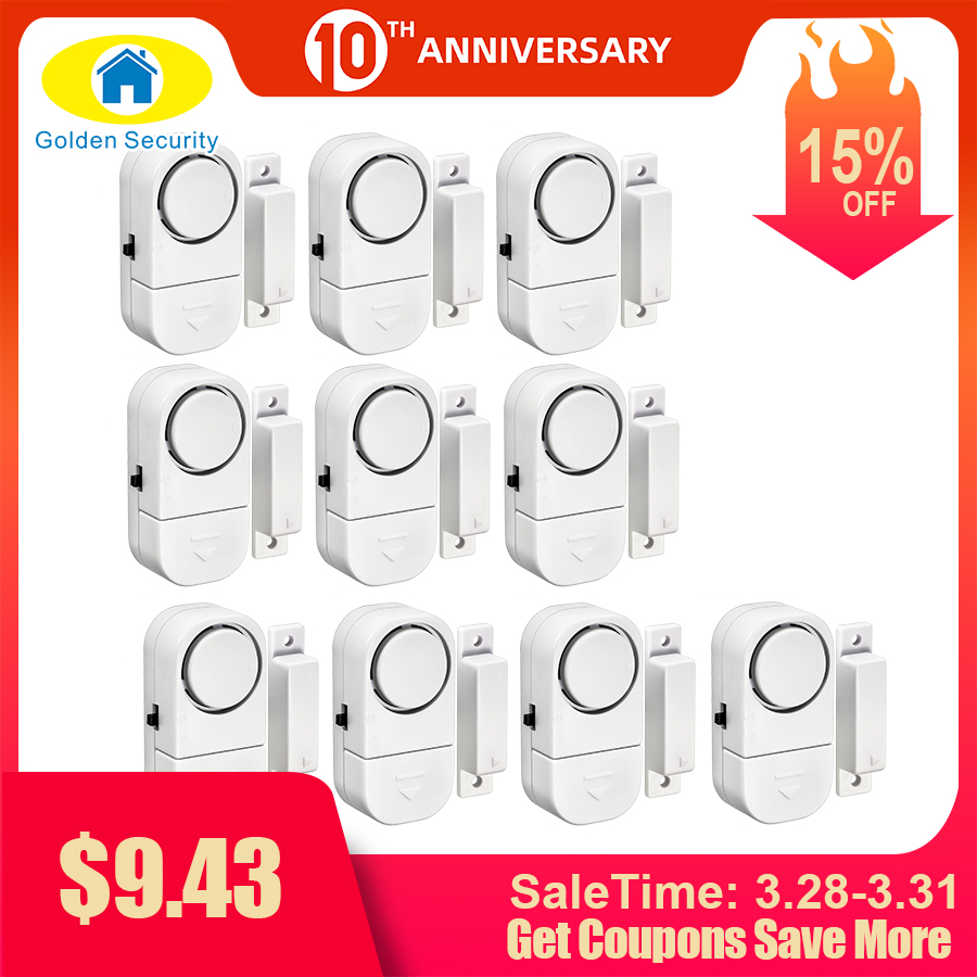 Golden Security 10Pcs 90dB Wireless Home Window Door Burglar Security Alarm System Magnetic Sensor For Home Security System