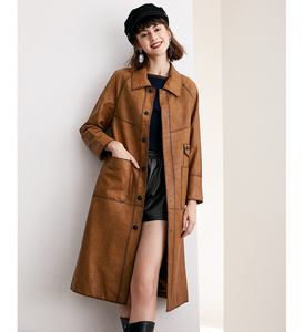 Image 3 - หนังผู้หญิงสั้นหัวรถจักร 100% Sheepskin Slim Coat ขนาดกลางยาว