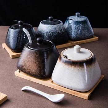 Japanese retro ceramic spice bottle salt shaker sugar bowl household seasoning pot set kitchen storage container seasoning box фото