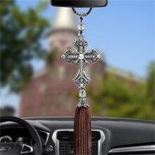 Автомобильный кулон с алмазным кристаллом Крест Иисуса украшения христианское авто зеркало заднего вида украшения подвесная Подвеска Декор интерьера
