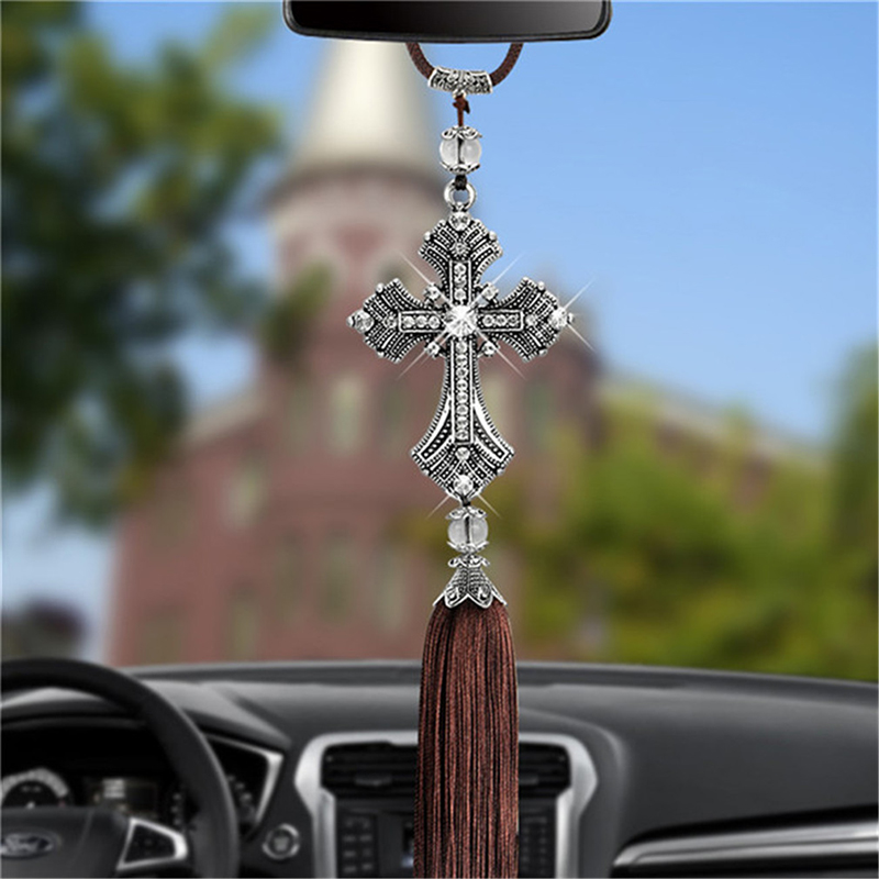 Car Pendant Diamond Crystal Cross Jesus Ornaments Christian Auto Rear View Mirror Ornaments Hanging Suspension Interior Decor