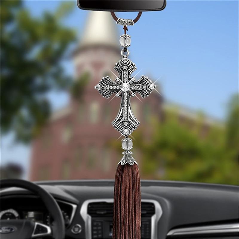 Car Pendant Diamond Crystal Cross Jesus Ornaments Christian Auto Rear View Mirror Ornaments Hanging Suspension Interior Decor