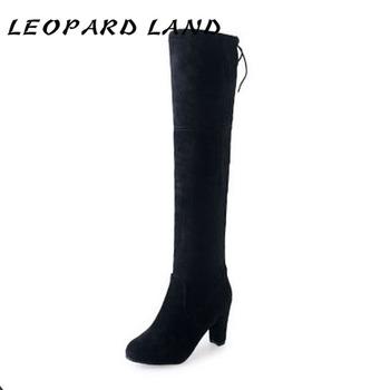 LEOPARD LAND kobiety Over-the-buty do kolan obcisłe obcasy wysokie buty Suede Plus Size kobiety jesienne buty Boot Classic 42 43 HYKL tanie i dobre opinie Za kolana RZYM Stałe Szpilki Jeździeckie okrągły nosek Na wiosnę jesień RUBBER Wysoka (5 cm-8 cm) 0-3 cm Wsuwane Dobrze pasuje do rozmiaru wybierz swój normalny rozmiar