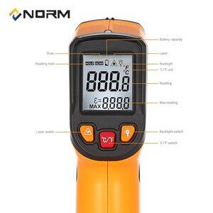 Image 5 - مقياس حرارة بالأشعة تحت الحمراء نورم 400 600 درجة مئوية غير التلامس مقياس الحرارة الرقمي بالأشعة تحت الحمراء الصناعية والمنزلية