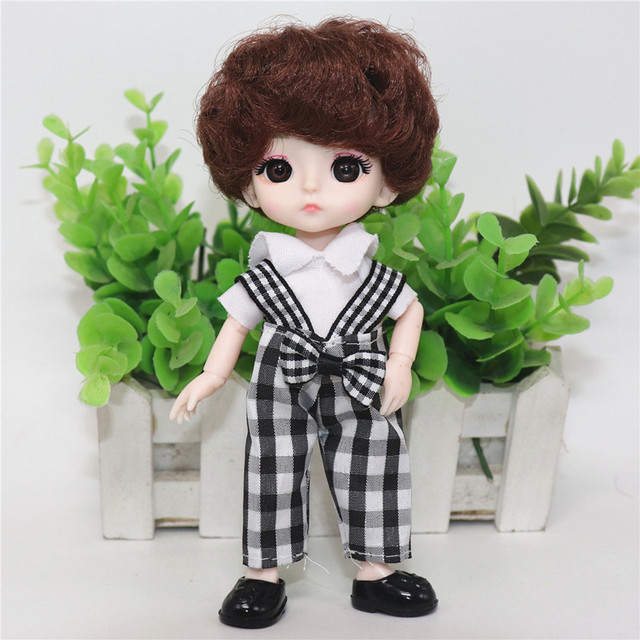 Fashionable 16 Cm Dolls Movable Joint 1/12 Mini Doll 3D Big Eyes BJD Baby Fashion Clothes Can Be Dress Up Boy and Girl Toy Gift