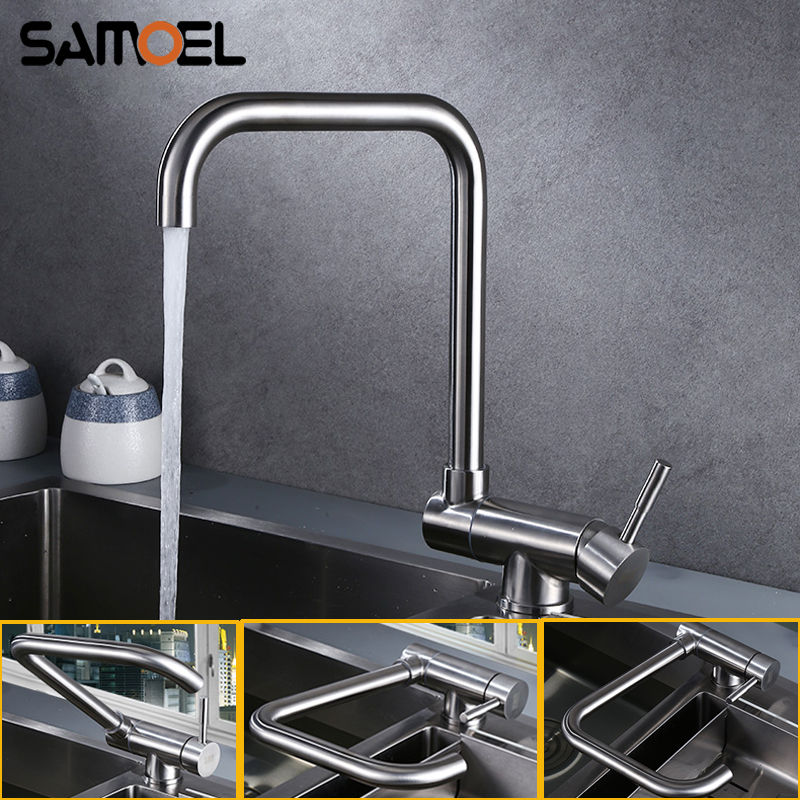 Stainless Steel Creative Kitchen Sink Faucet Mixer Deck Mount Foldable Rotating Kitchen Hot Cold Water Tap NL720