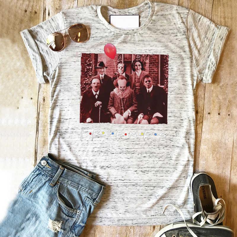 สยองขวัญตัวอักษรเพื่อนเสื้อฮาโลวีนเพื่อนทีวีแสดงสยองขวัญตัวอักษร tshirt ผู้หญิง 2019 สีขาว top plus ขนาดพิมพ์ tee