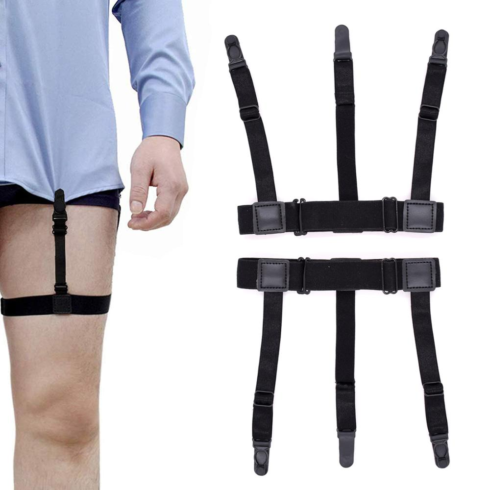 2pcs Adjustable Elastic Shirt Stays Holders For Men Women Formal Business Career Uniform Wearing With Non-slip Locking Clamps