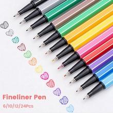 Fineliner Pen Sketch Art Sets 6 10 12 24 Colors Manga Calligraphy Drawing Set Hook Liner Brush Pens Kit Micron Ink Marker