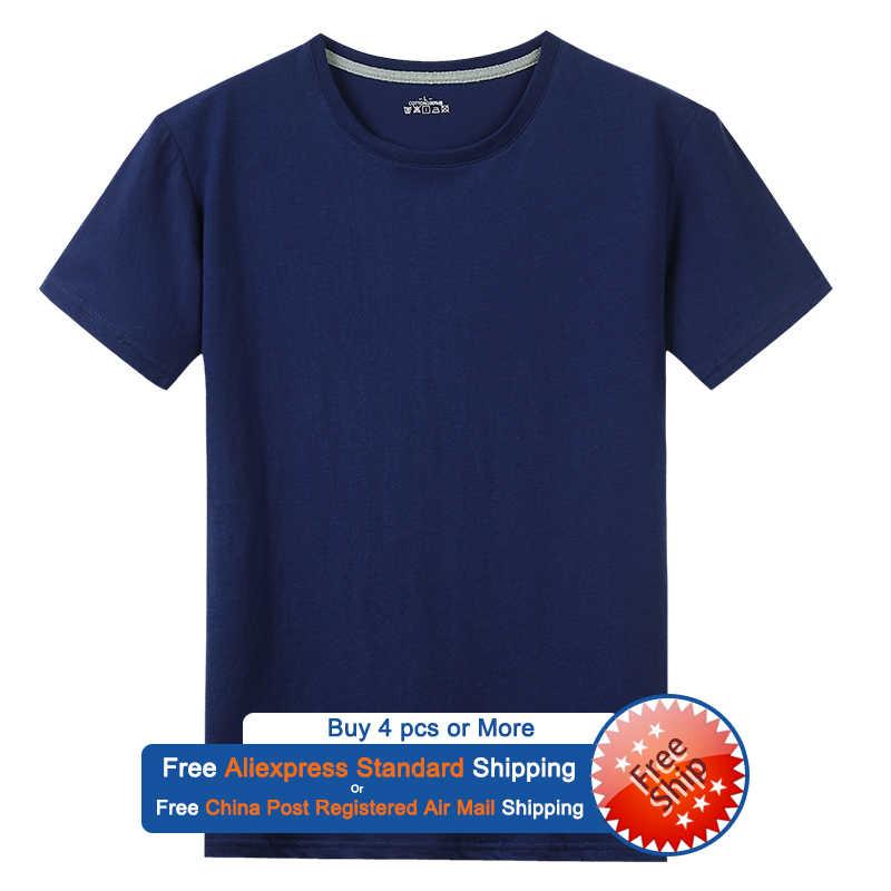 T-shirt nave libera uomo donna 100% cotone estate corto solido uomo donna magliette Basic tinta unita girocollo Plus Size 5XL t-shirt