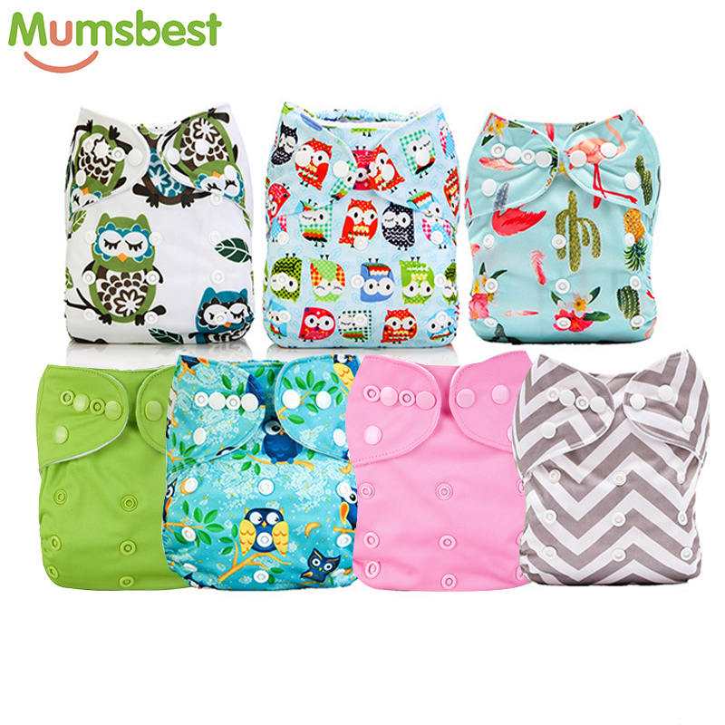 [Mumsbest] 7pcs/Lot Baby Cloth Diaper Real  Wholesale Washable Reusable One Size Nappy Diaper Cover Wrap Nappies Diaper