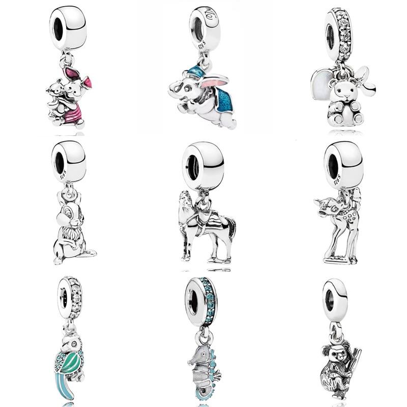 Enamel Flying Dumbo Thumper Piglet Baby Treasures Bambi Pendant Charm Fit Pandora Bracelet 925 Sterling Silver Bead Jewelry(China)
