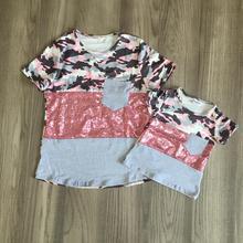 summer baby girls boutique t-shirts clothes pink camo grey sequins cotton top mommy & me children raglan short sleeve pocket