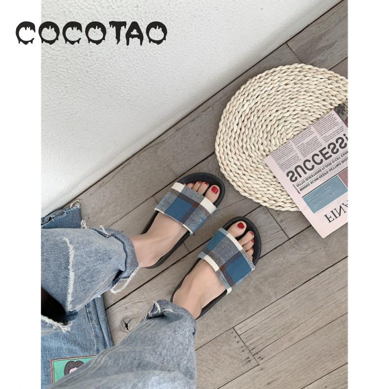 Slipper woman 2019 is a simple fabric plaid student sandal dormitory non slip indoor and outdoor wear half a drag woman10 in Slippers from Shoes
