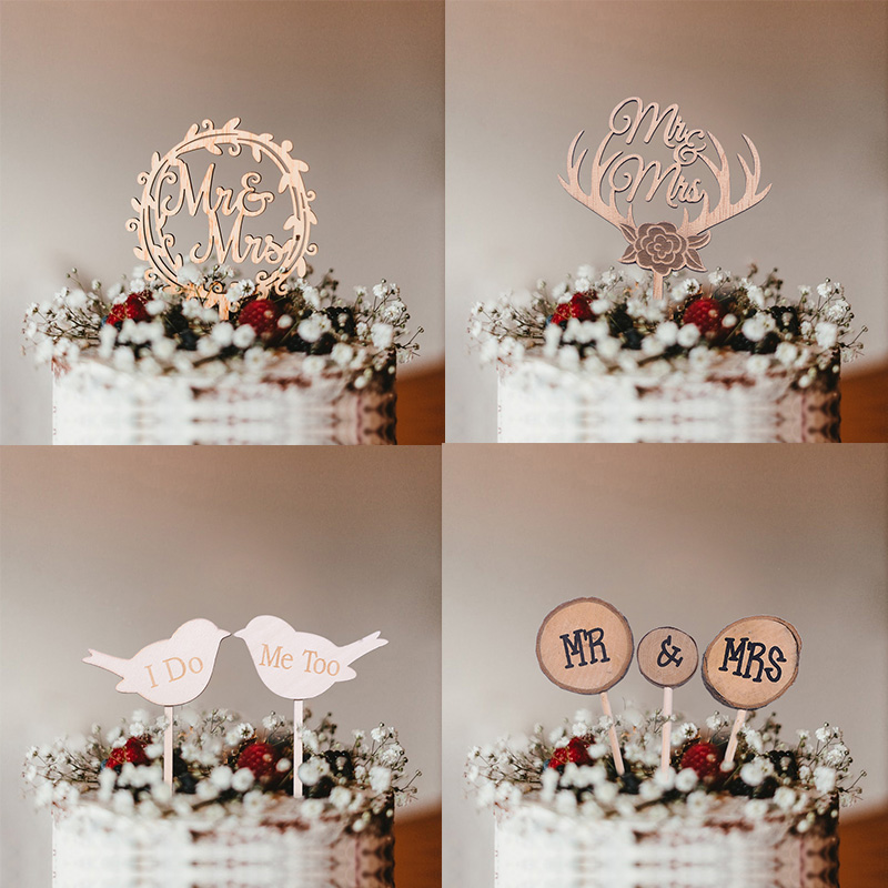 1pc Mr Mrs Cake Topper Diy Laser Cut Wood Love Cake Topper For Wedding Cake Decoration Favors Supplies Wed Party Photo Props Cake Decorating Supplies Aliexpress