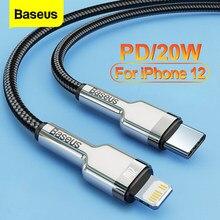 Baseus pd 20w cabo usb c para iphone 12 11 pro max x xr xs 18w cabo de carregamento rápido do carregador para ipad iphone 8 7 tipo-c cabo de dados