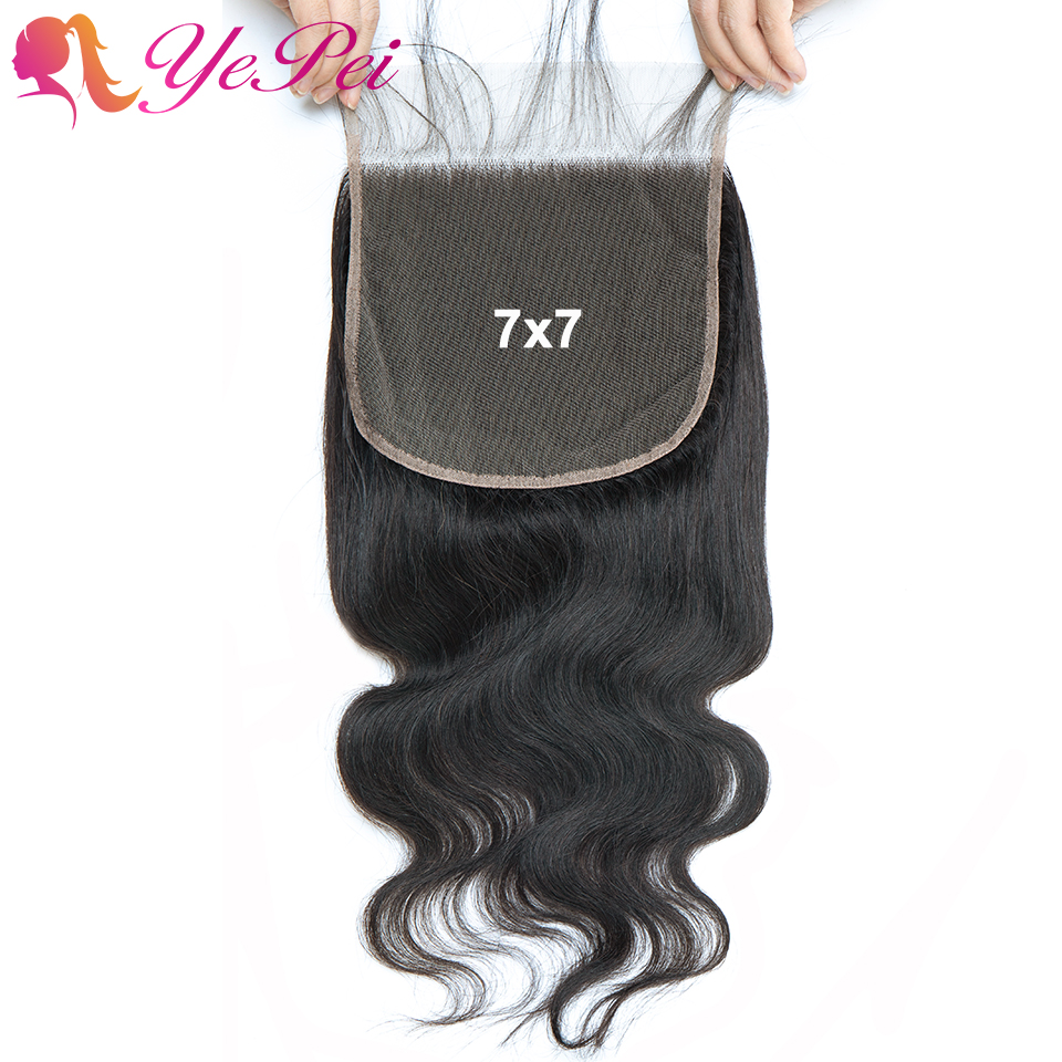 7x7 Closure Brazilian Body Wave Human Hair Lace Closure With Baby Hair Swiss Lace Remy Hair 8-24 Inch Natural Color Yepei