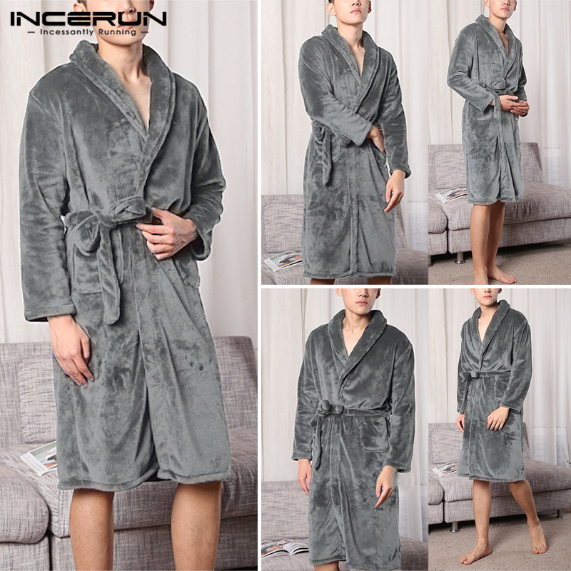 INCERUN Men Autumn Winter Solid Long Thick Warm Bathrobe Mens Kimono Bath Robe Women Sexy Robes Couple Thermal Dressing Gown
