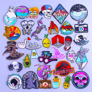 Hippie Punk Skull Patch On Clothes Wave Iron On Patch Embroidered Patches For Clothes DIY Stripes Rock Cartoon Embroidery Patch