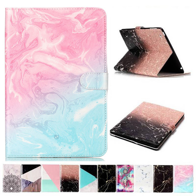 Smart PU Leather Case For Samsung Galaxy Tab A A2 10.5 Inch 2018 T590 T595 T597 SM-T595 Marble Card Slots Tablet Case+Film+Pen