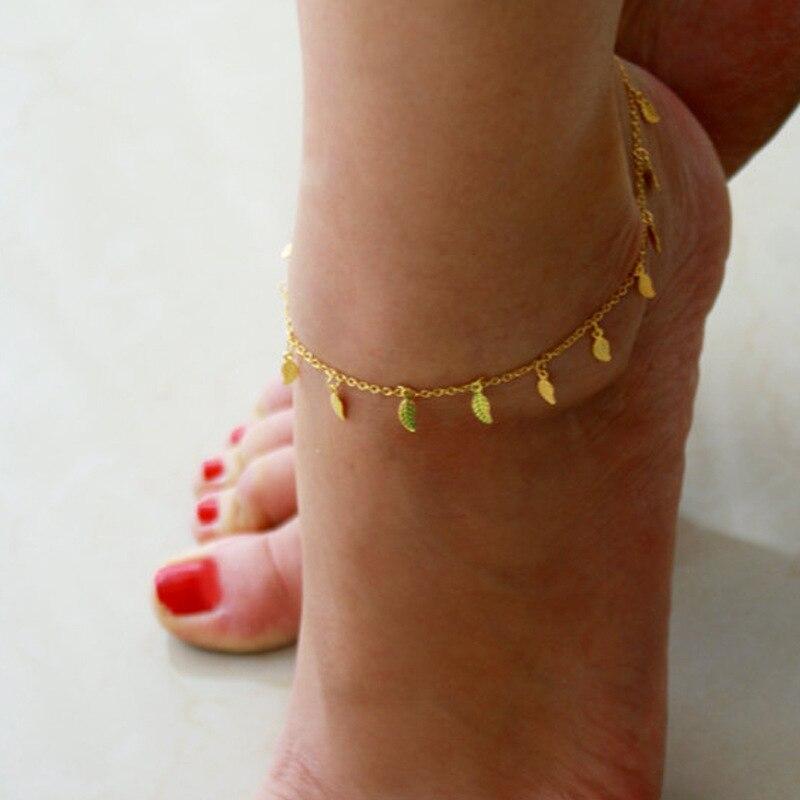 Bohemian Gold Color Stars Leaves Anklets Summer Beach Barefoot Leg Bracelet Foot Chain Vintage Handmade Yoga Anklet for Women