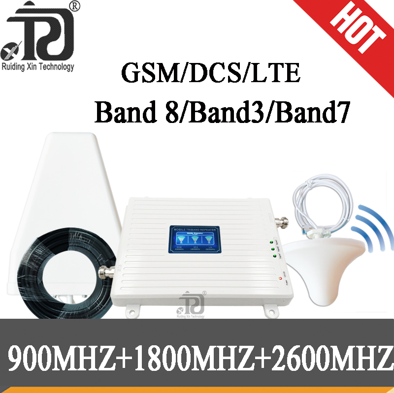 2G 3G 4G Tri Band Signal Booster GSM 900/(B3)DCS 1800/(B7)FDD LTE 2600 Cellphone Signal Repeater Mobile Cellular Amplifier Kit