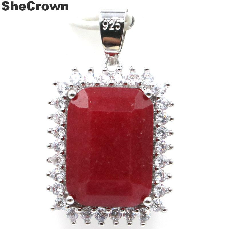 33x14mm SheCrown 2020 New Arrival Big Gemstone 18x13mm Real Red Ruby Green Emerald White CZ Gift For Ladies 925 Silver Pendant