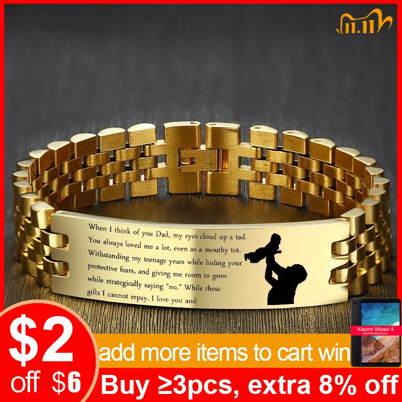 Vnox I Love You DAD Bracelets Gold Tone Stainless Steel Link Chain pulsera masculina Custom DIY Engraving Name Love Info Gifts|Chain & Link Bracelets| - AliExpress
