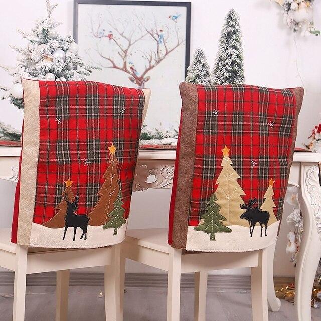 Фото 2 шт рождественские чехлы для стульев кухонные чехлы обеденных