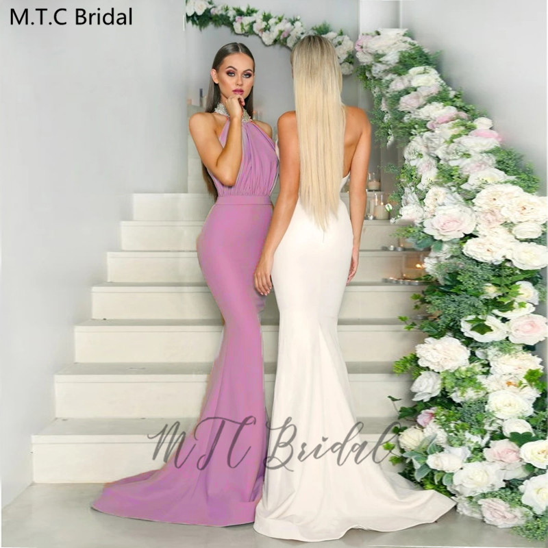 Sexy Backless Mermaid Bridesmaid Dresses Crystals Satin Long Elegant Maid Of Honor Dress Plus Size Women Prom Wedding Party Gown