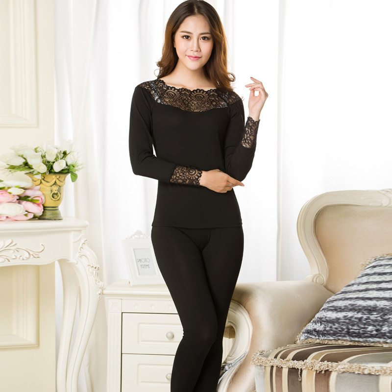 2019 Autumn Winter Lace Thermal Underwear Sexy Ladies Seamless Antibacterial Warm Intimates Thin Long Johns Women Shaped Sets