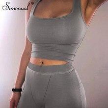 Simenual – tenue de sport côtelée pour femmes, ensemble assorti, sans manches, vêtements d'entraînement, 2 pièces, Fitness