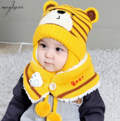 Hat And Scarf For Girls Boys Babies 2019 New Winter Knitted Warm Suit Striped Tiger Hat Scarf Baby Suit Hat And Snood Set