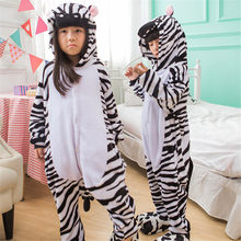 Zebra Pajama Suit For Kids Animal Onesie Winter Warm Flannel Sleepwear Hooded Anime Kigurumi Cosplay Costume Party Cute Fantasy(China)