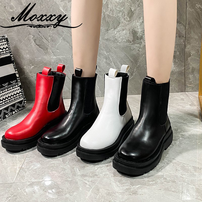 Moxxy 2020 Women Black Red White Boots Autumn Stretch Gothic Punk Boots Leather Platform Combat Ankle Boots For Women Shoes