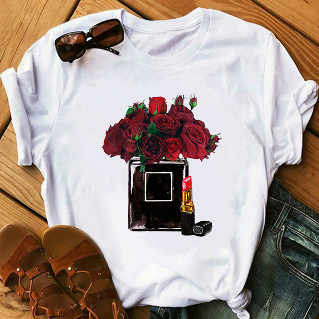 Red Lipstick T Shirt Women Perfumer Floral T-s Girl Summer  Lady Casual Sexy Lip T-shirt Gift for Girlfriend