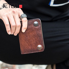 AETOO Vegetable tanned top layer leather mens short wallet retro leather vertical section wallet zipper purse with driving docu