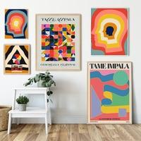 Tame Impala en Glastonbury concierto de Posters Retro pintura geometría abstracta de la pared de cabeza de fotos para decoración para sala de estar