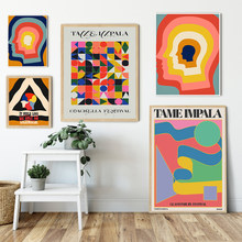 Tame Impala At Glastonbury Gig Canvas Posters Retro Abstract Geometry Painting Colorful Head Wall Pictures for Living Room Decor
