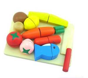 Toys-Set Kitchen Gift Scale-Models Pretend-Play Wooden Simulation-Fruits/vegetables Kids
